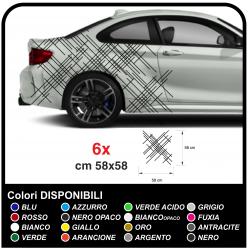 El adhesivo de las líneas laterales para gráficos coche deportivo, adhesivos, a los lados, el capó y en los laterales del