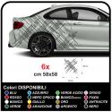 Adhésif lignes de côté pour les graphiques de voitures de sport, des autocollants pour les côtés, bonnet et à côté de la
