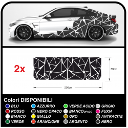 Adesivi fiancate auto Triangoli Set completo Camouflage per auto Car Decal racing Sticker Decorazione fiancate SPORT