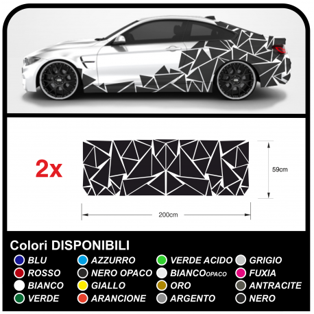 Stickers sides-car Triangles complete Set Camouflage for car auto Decal racing Sticker Decoration, the sides SPORT