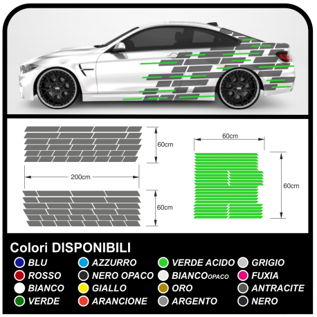 Stickers side for racing car, racing car stickers camouflage Camo camouflage self-adhesive racing two-tone