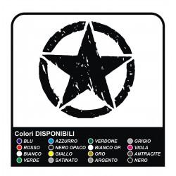 Sticker STAR, efecto desgastado cm50 Jeep RENEGADE BRÚJULA Cherokee cm 50