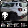 adesivi Teschio effetto consumato per montante posteriore jeep renegade stickers Jeep Renegade teschio Punisher