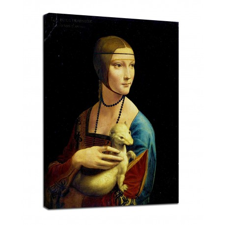 """Painting """" Lady with an Ermine Leonardo Da Vinci - Lady with Ermine - print on canvas with or without frame"""