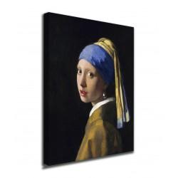 Peinture Girl with the pearl earring .- Jan Vermeer - jeune Fille à la perle - impression sur toile avec ou sans cadre