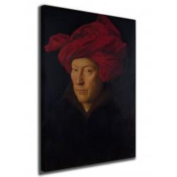Quadro Ritratto di uomo con turbante rosso Jan van Eyck stampa su tela canvas con o senza telaio