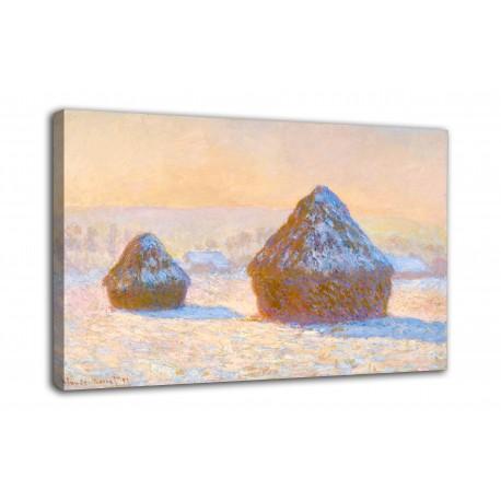 Le cadre de Gerbes, effet de neige, le matin - Claude Monet - impression sur toile avec ou sans cadre