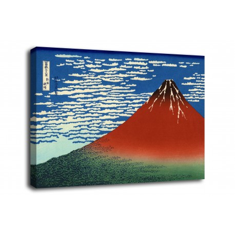 The framework of South Wind, clear Sky (Red Fuji) - Katsushika Hokusai - print on canvas with or without frame