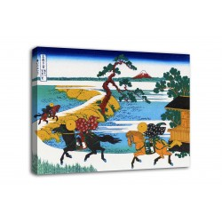 Framework The village of Sekiya on the Sumida river - Katsushika Hokusai - print on canvas with or without frame