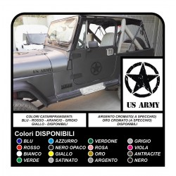 4 STICKERS 25 cm STAR + US ARMY FOR JEEP WRANGLER RENEGADE WILLYS STICKERS
