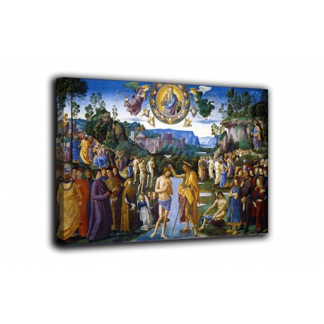 Painting the Baptism of Christ - Perugino - print on canvas with or without frame