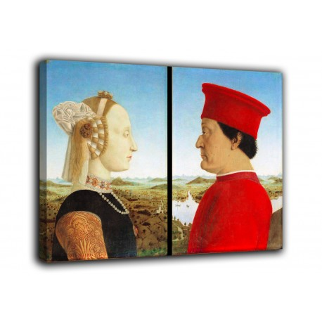 Painting the Double portrait of the dukes of Urbino - Piero Della Francesca - print on canvas with or without frame
