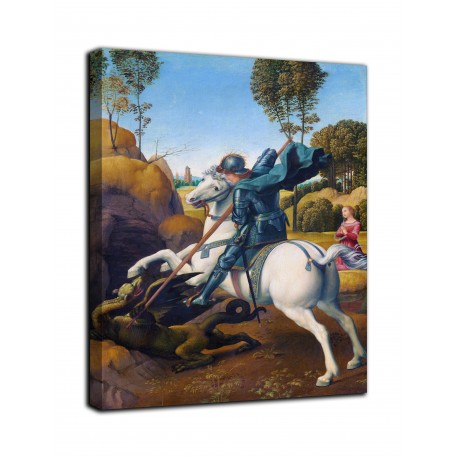 Picture of St. George and the Dragon - Raphael - print on canvas with or without frame