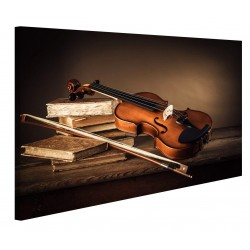 Modern pictures of a Violin on A Wooden Table Print on Canvas - the Framework for the Living room Kitchen home Office