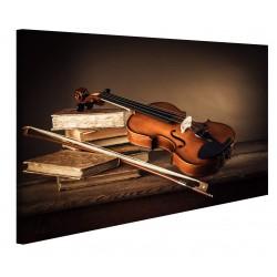 Quadri Moderni Violino su Un Tavolo di Legno Stampa su Tela - Quadro per Salotto Cucina Ufficio casa