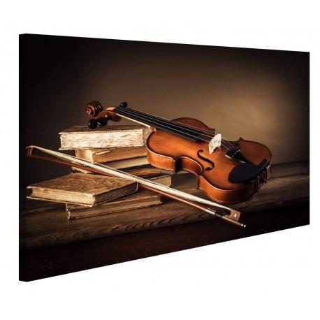 Moderne gemälde Violine auf Einem Tisch, Holz, Druck auf Leinwand - Rahmen für Wohnzimmer, Küche, Büro, haus