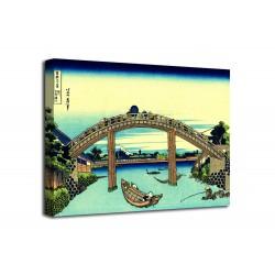 The framework Under the Bridge Mannen at Fukagawa - Katsushika Hokusai - print on canvas with or without frame