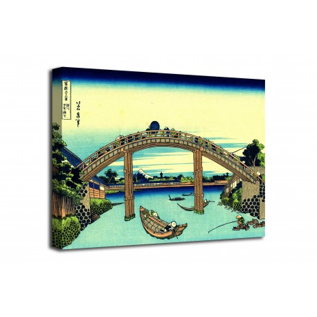 Le cadre Sous le Pont Mannen à Fukagawa - Katsushika Hokusai - impression sur toile avec ou sans cadre