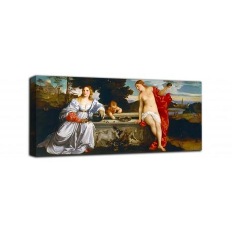 Quadro Amor Sacro e Amor Profano- Tiziano - stampa su tela canvas con o senza telaio
