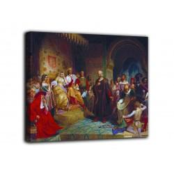 Bild Christoph Kolumbus von den Katholischen königen in Granada - Emanuel Leutze-druck auf leinwand, leinwand mit oder ohne