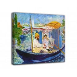 Peinture tableau de Monet sur son bateau - Edouard Manet - impression sur toile avec ou sans cadre