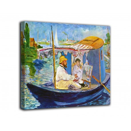 Painting Monet painting on his boat - Edouard Manet - print on canvas with or without frame