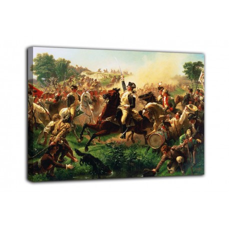 Framework Washington gathers the troops in the battle of Monmouth - Emanuel Leutze - print on canvas with or without frame