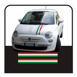 Autocollants pour FIAT 500 KIT de bandes du drapeau italien capot toit et le coffre stripes drapeau tricolore autocollants