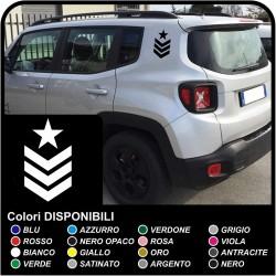 autocollants degrés SGT étoiles supérieures sergent pour l'arrière de la jeep renegade autocollants Jeep Renegade