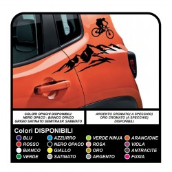 Stickers renegade side Jeep Renagade decals stickers mountain side and the bike