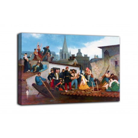Picture Napoleon III visiting the flood victims of Tarascon - Bouguereau - print on canvas with or without frame