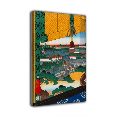 Picture A race of sumo within the precincts of the temple of Ekōin Edo - Utagawa Hiroshige - print on canvas with or without