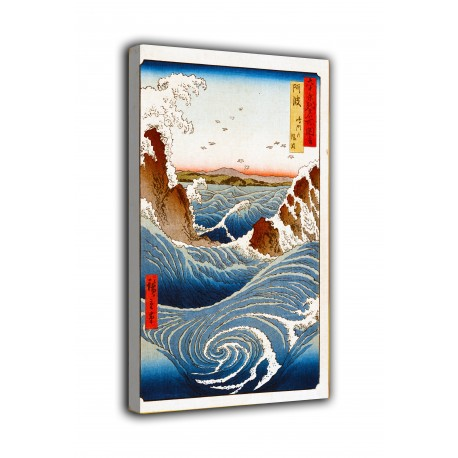 The framework Awa, Naruto Whirlpools - Andō Hiroshige - print on canvas with or without frame