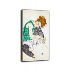 Rahmen Frau sitzt mit gebeugten knien - Egon Schiele - druck auf leinwand, leinwand mit oder ohne rahmen