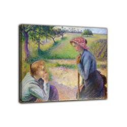Rahmen, Zwei junge bäuerinnen - Camille Pissarro - druck auf leinwand, leinwand mit oder ohne rahmen