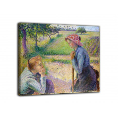 Picture Two young farmers - Camille Pissarro - print on canvas with or without frame