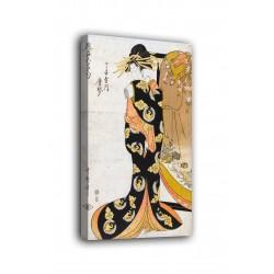 Rahmen Kurtisane Karagoto des hauses Chojiya - Kitagawa Utamaro - druck auf leinwand, leinwand mit oder ohne rahmen
