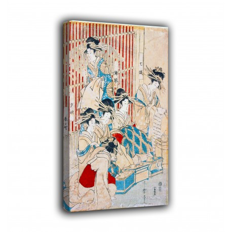 The framework Courtesans of the greenhouse - Kitagawa Utamaro - prints on canvas with or without frame