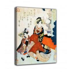 La pintura de La cortesana y una niña llamada para una decoración - Hiroshige - impresión en lienzo con o sin marco