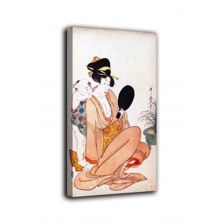 Quadro Madre e figlio guardando uno specchio a mano - Kitagawa Utamaro - stampa su tela canvas con o senza telaio