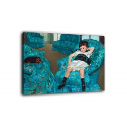 Picture little Girl in a blue armchair - Mary Cassatt - prints on canvas with or without frame