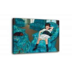 Quadro Bambina su una poltrona blu - Mary Cassatt - stampa su tela canvas con o senza telaio