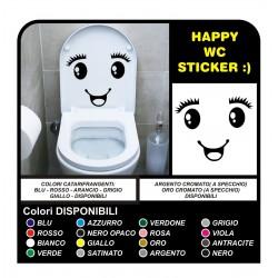 Aufkleber badezimmer, WC, water, haus, tasse, sticker decals Auge lächeln wall sticker