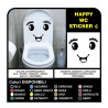 Adesivo bagno WC water casa tazza stickers decals Occhio sorriso wall stickers