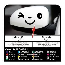 Stickers smiley miroir auto-adhésif sourire clin d'oeil les décalques autocollants