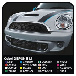 Stickers HOOD two-tone MINI COOPER S bands HOOD BACK VIPER adhesive strips mini cooper ray