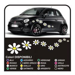 Kit adesivi 18 MARGHERITE adesivi fiori per SMART FIAT 500 car Flowers stickers