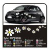 Kit autocollants 18 MARGUERITES stickers fleurs par SMART, FIAT 500 voiture Fleurs autocollants