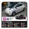 KIT STICKERS FLOWERS per SMART FIAT 500 car Flowers stickers 18 PCS MINI COOPER