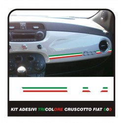 Adesivo Stickers Fiat 500 plancia Abarth Racing Red White Blu